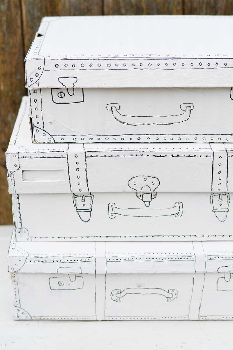 Vintage suitcase shoe box craft
