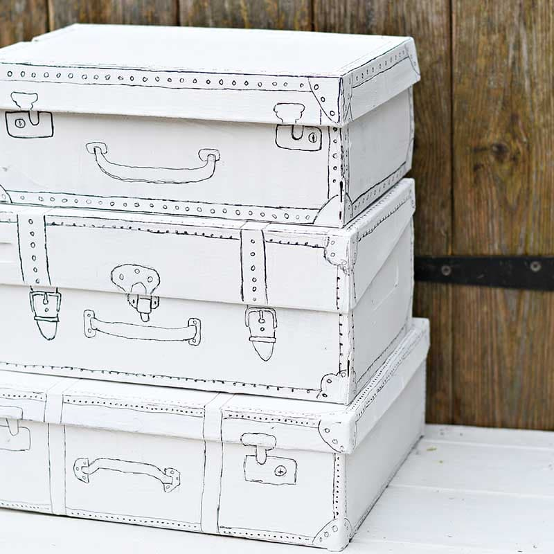 shoe boxes painted like vintage suitcases
