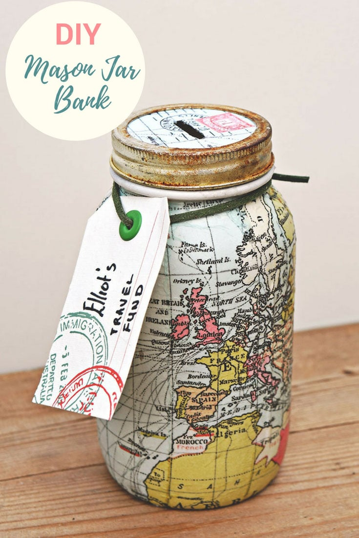 World Map mason jar bank