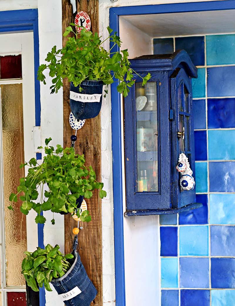 indoor herb garden planters from denim