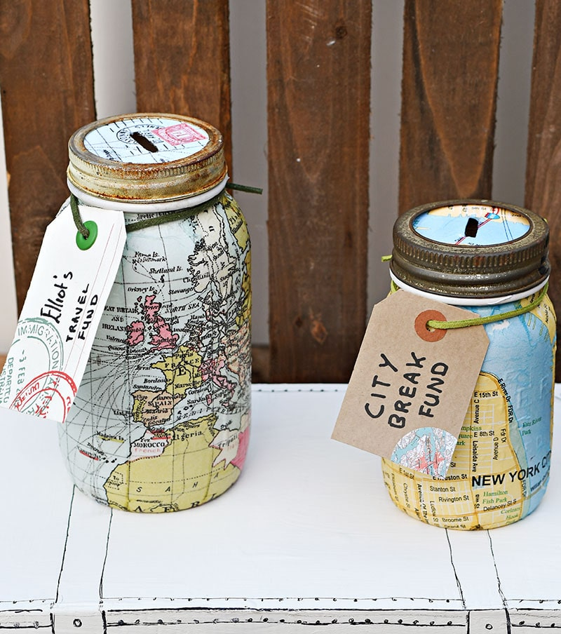 Map mason jar bank 2 ways