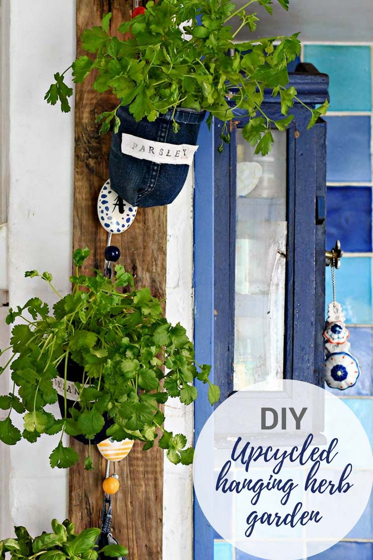 Upcycle some old jeans to make unique denim indoor herb garden planters. These planters also have cute labels on them so even a novice won't mix up their herbs. #herbplanter #indoorgarden #verticalgarden