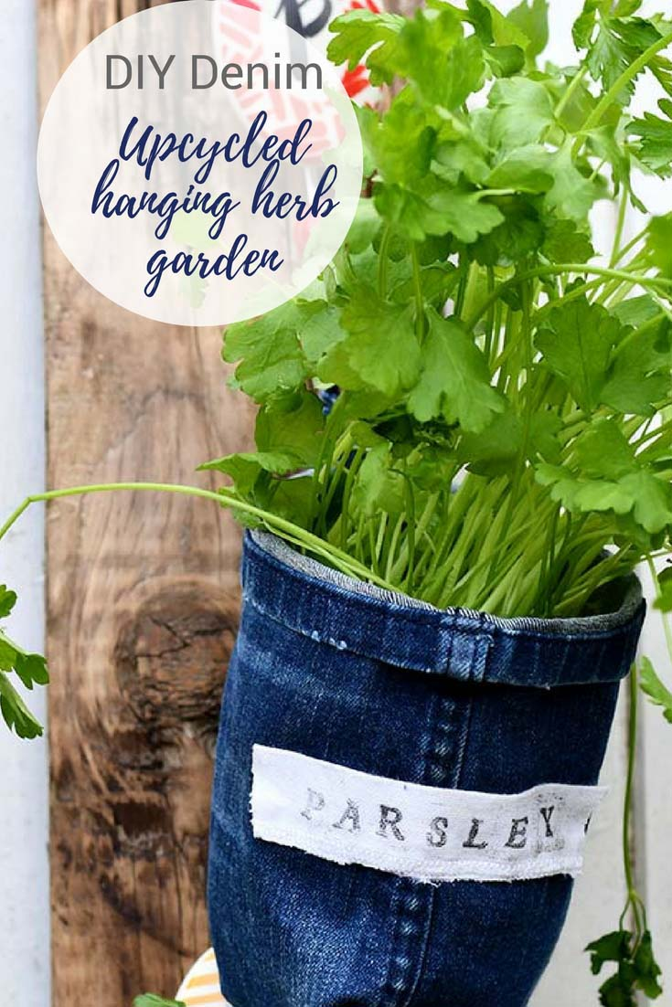 Upcycle Some Old Jeans To Make Unique Denim Indoor Herb Garden Planters.  These Planters Also