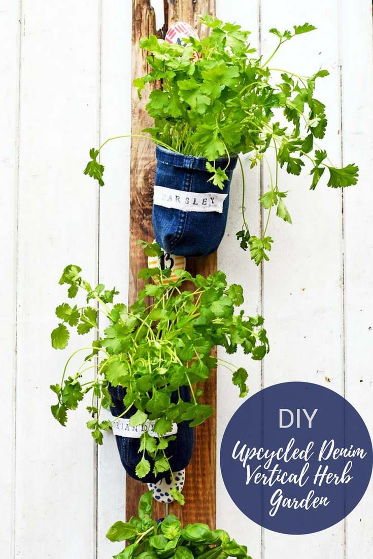 How To Make Indoor Herb Garden Planters From Denim Pillar Box Blue