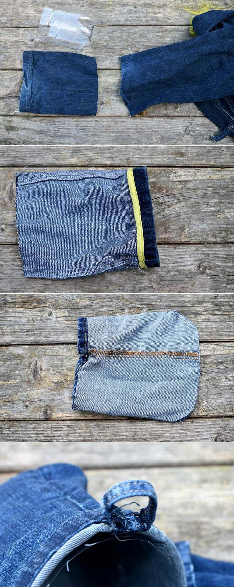 Making denim pouches for indoor heb garden