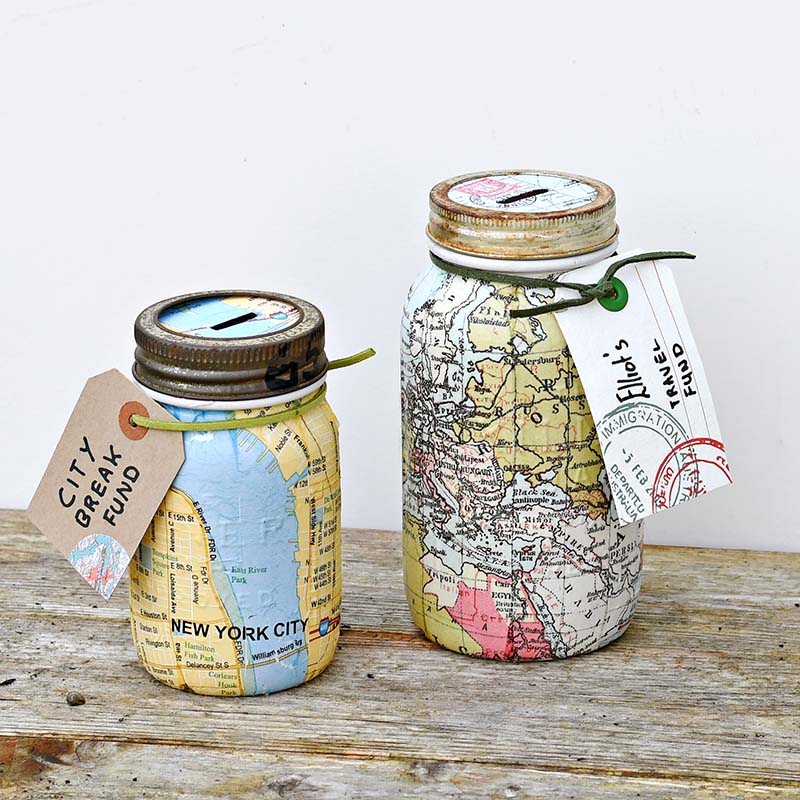 Make a unique map mason jar bank for a wonderful gift for Cool money jars