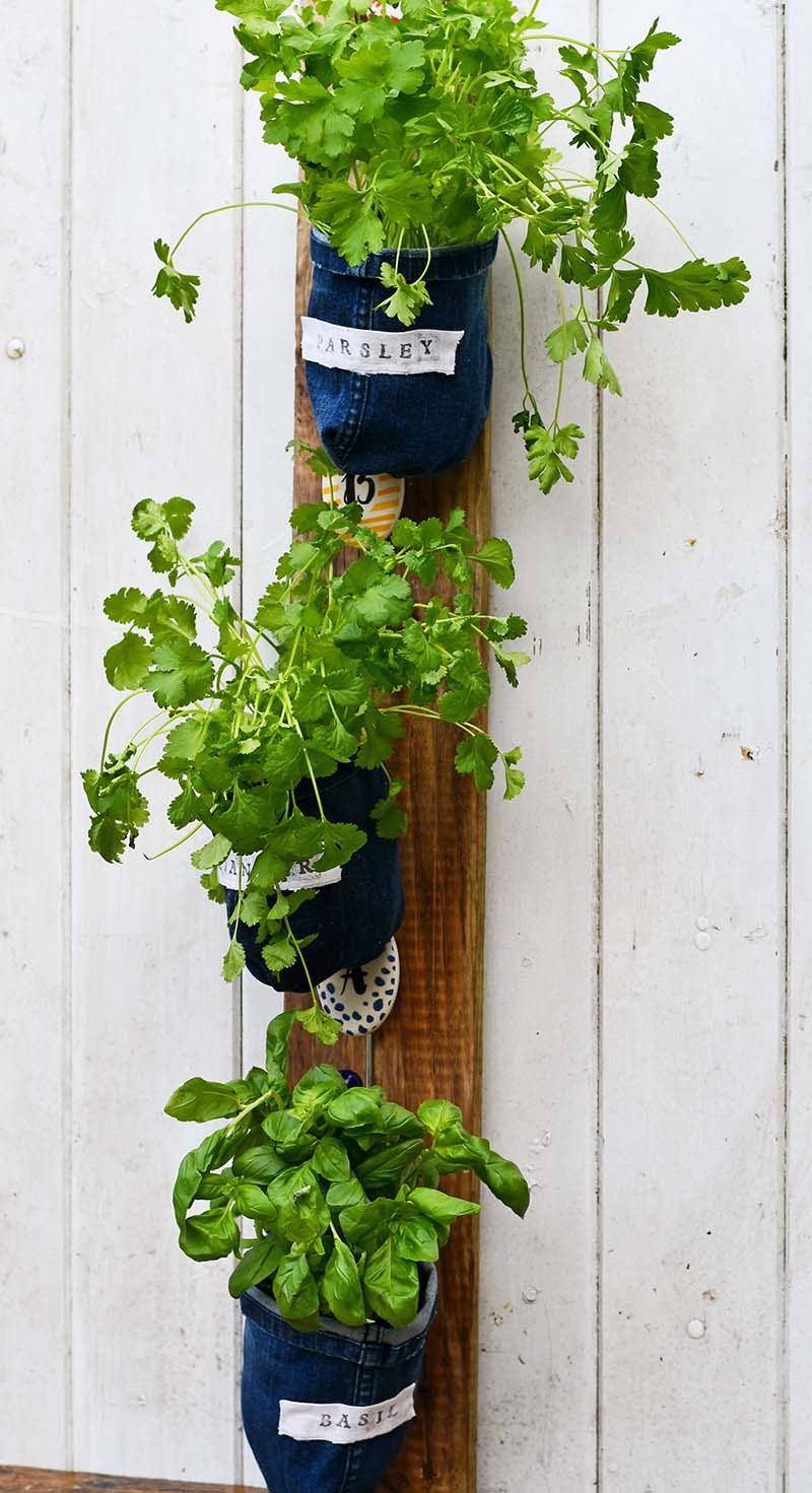 upcycled denim Vertical herb garden