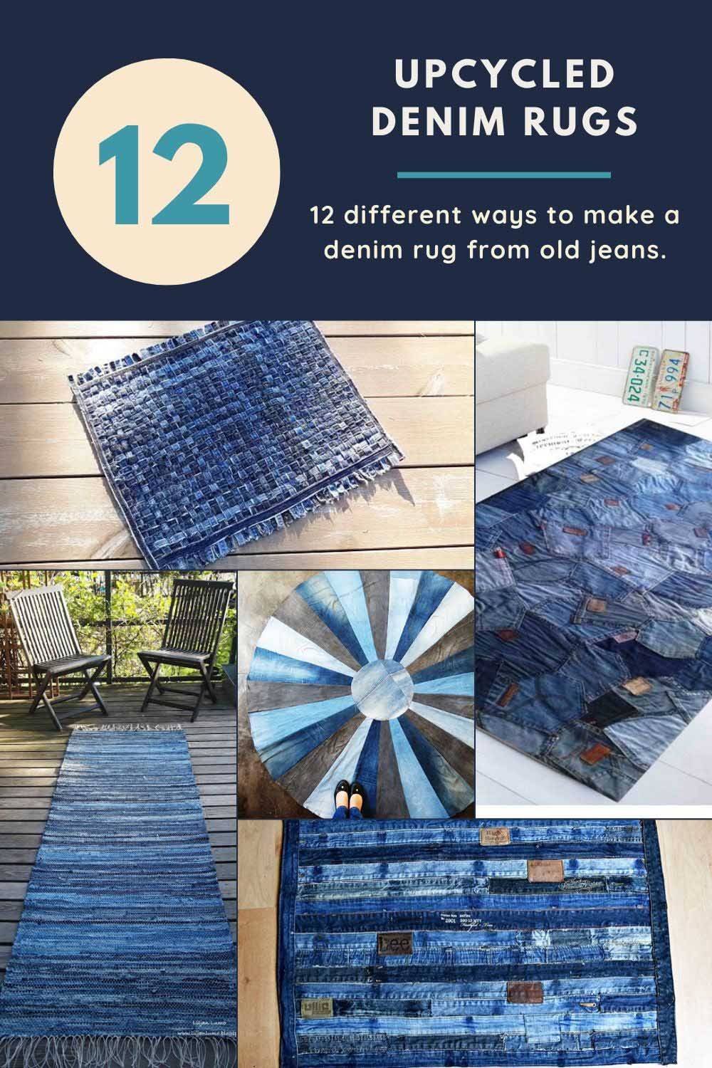 12 upcycled blue jean rugs