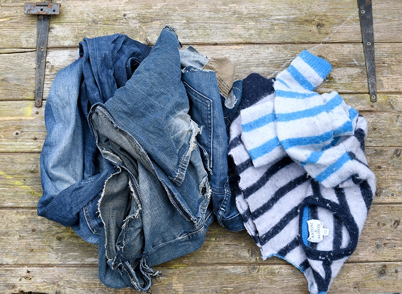 Denim and sweater scraps for fish pillow.