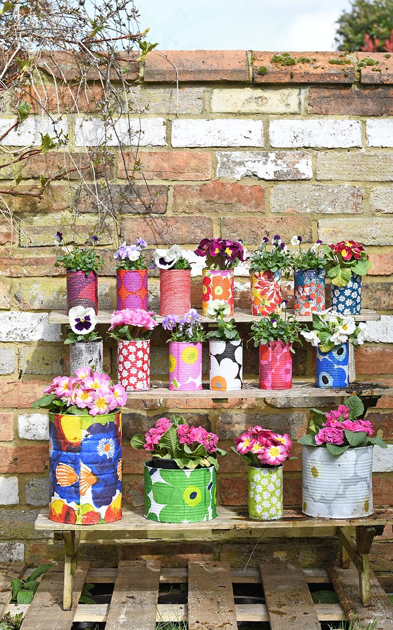 Marimekko Decorative tin can planters