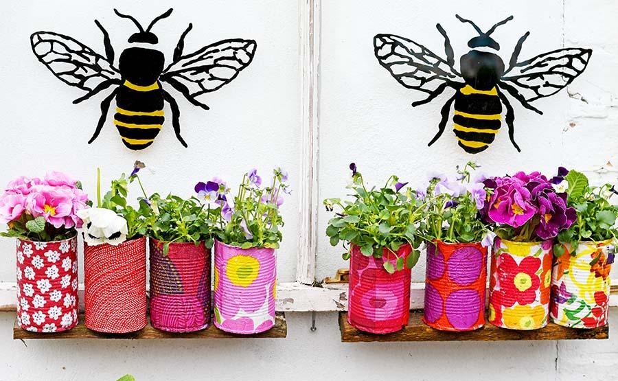 Marimekko Decorative tin can planters window