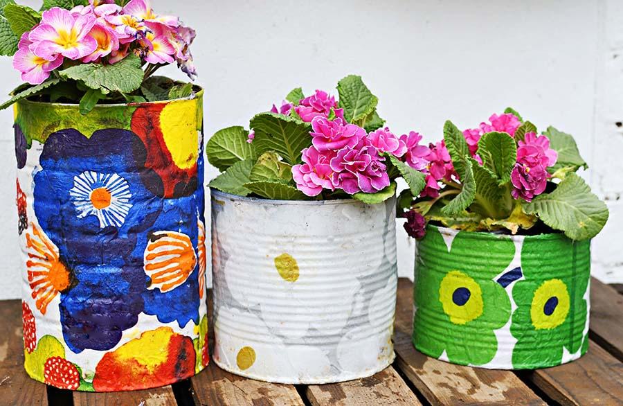Large marimekko tin can planters