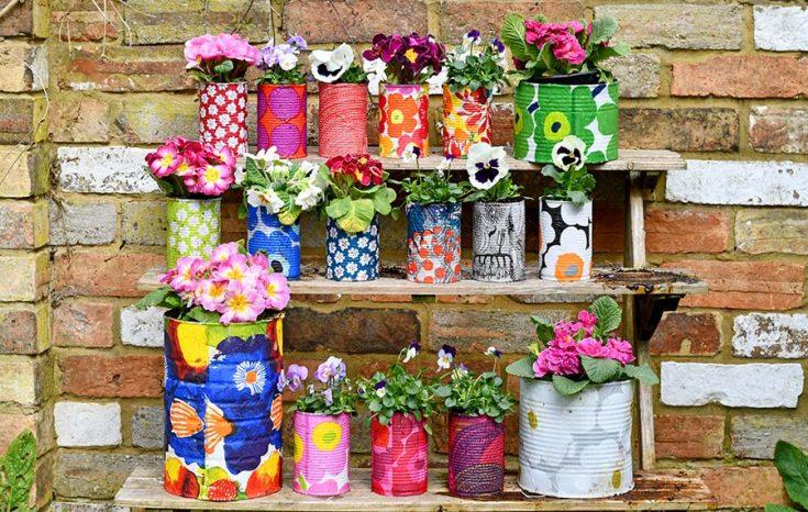 Easy Upcycled Marimekko Decorative Tin Can Planters