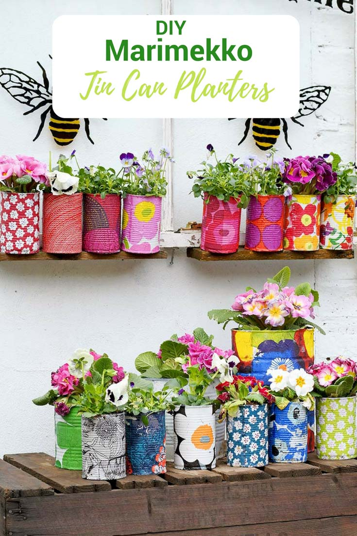 Decorative tin can planters with Marimekko paper napkins