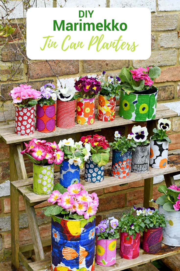 DIY Marimekko decorative tin can planters