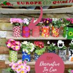 Upcycled decorative Marimekko tin can planters