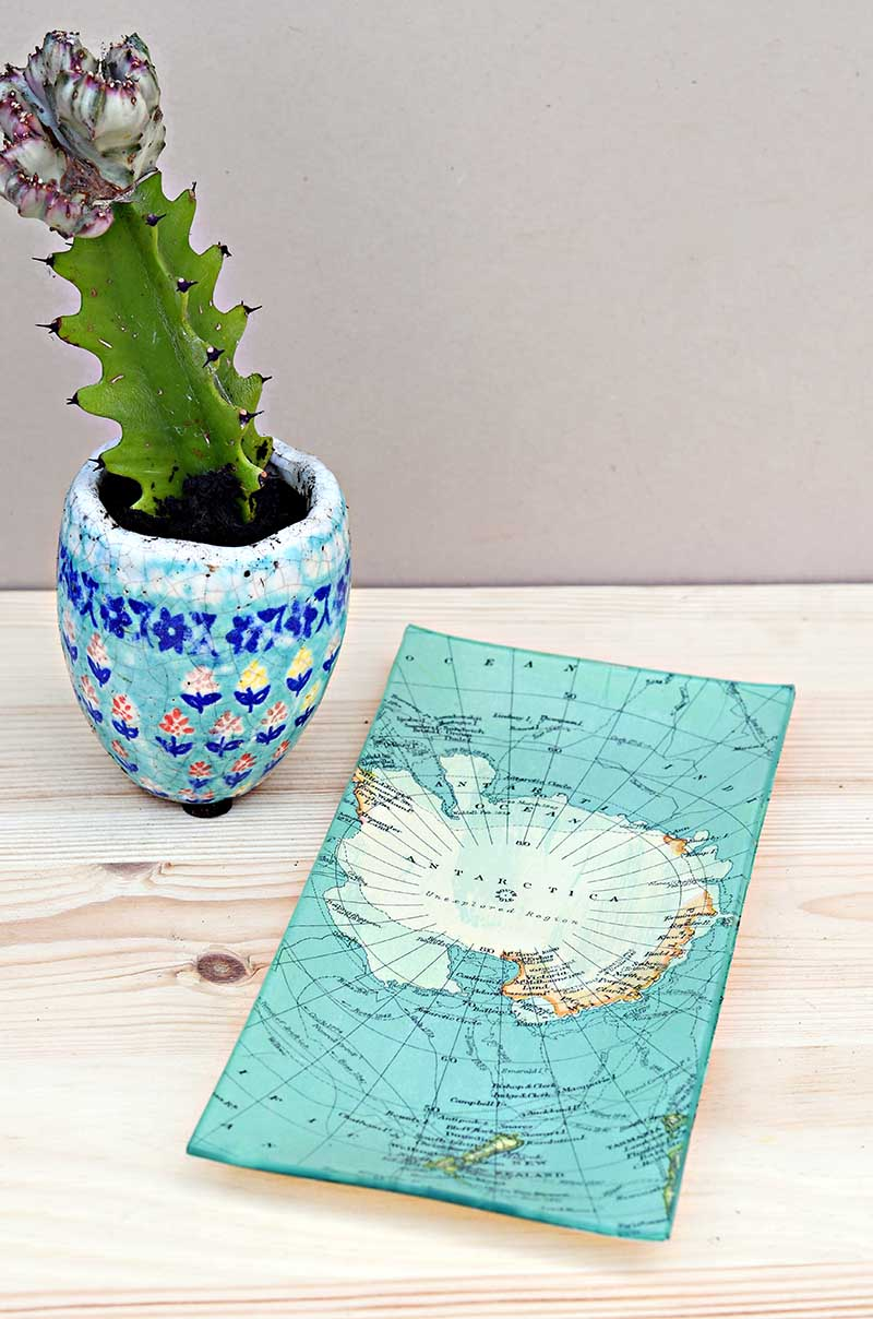 Antarctica map glass trinket dish upcycle