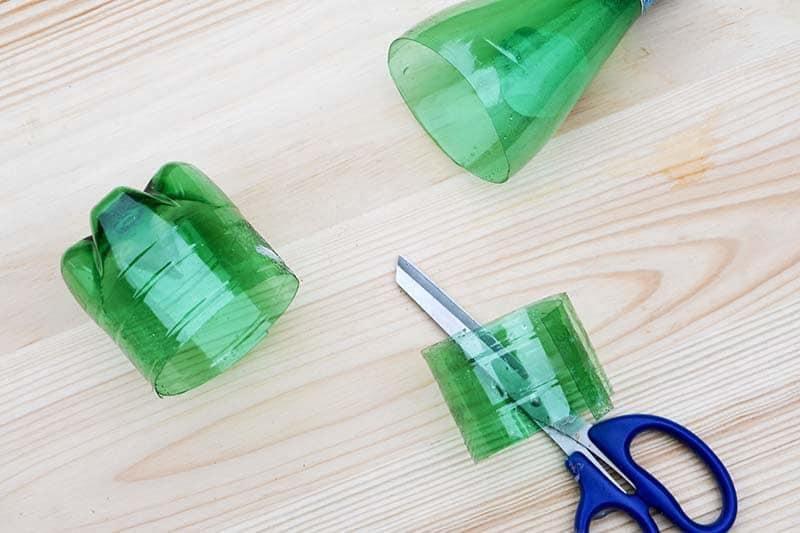 cut green plastic water bottle