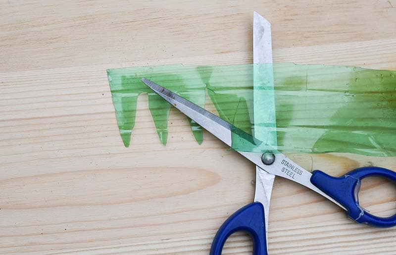 cutting plastic bottle leaves
