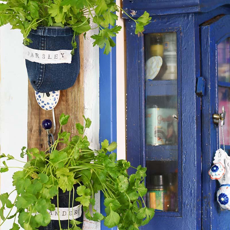 wooden herb garden planters build your own indoor upcycled denim herb garden how to make herb garden planters from denim pillar box blue