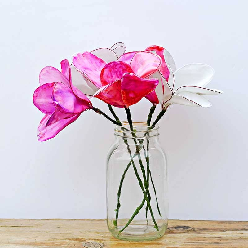 Pink and white wire frame cotton flowers DIY