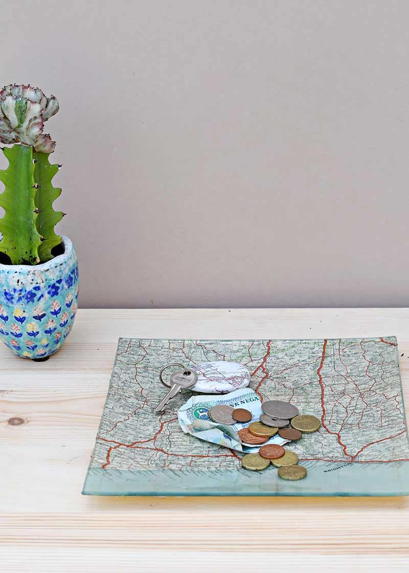 Personalized road map decoupage glass tray
