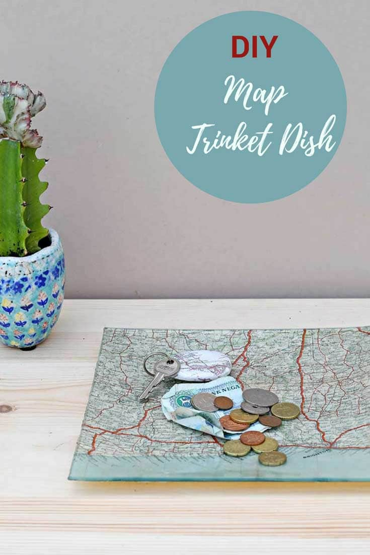 Map decoupage glass tray