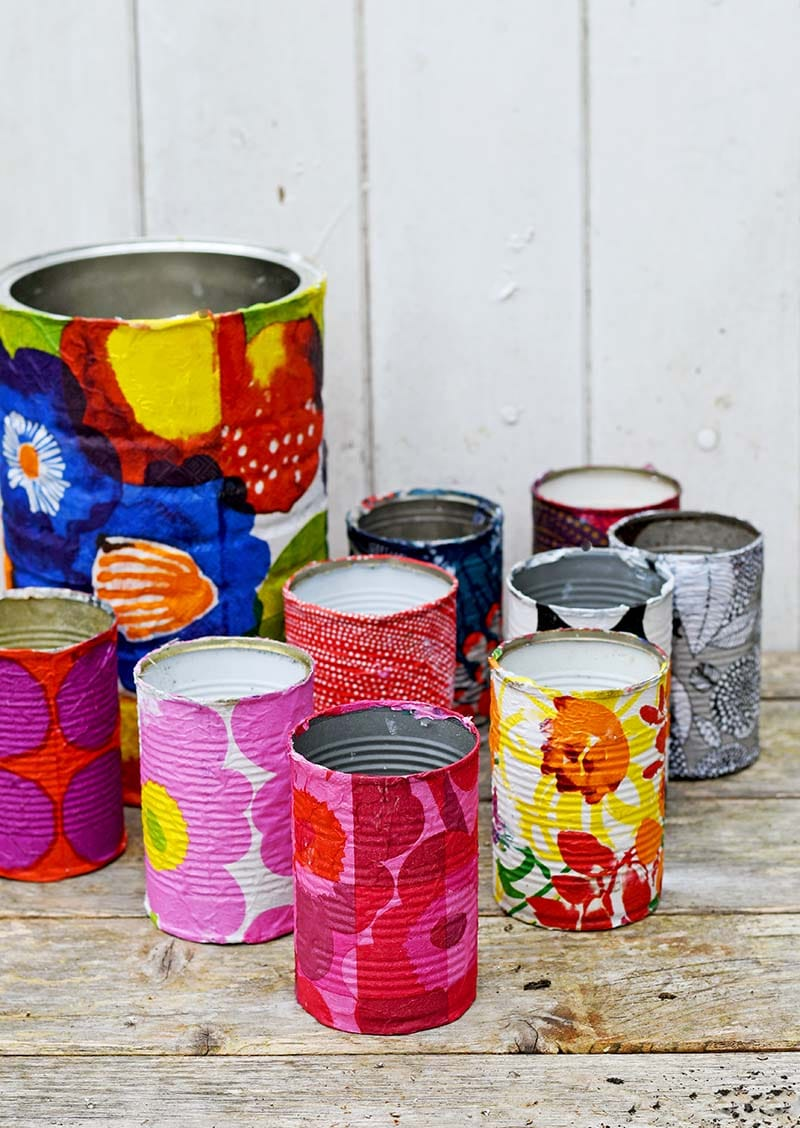 Collection of Marimekko tin can planters.