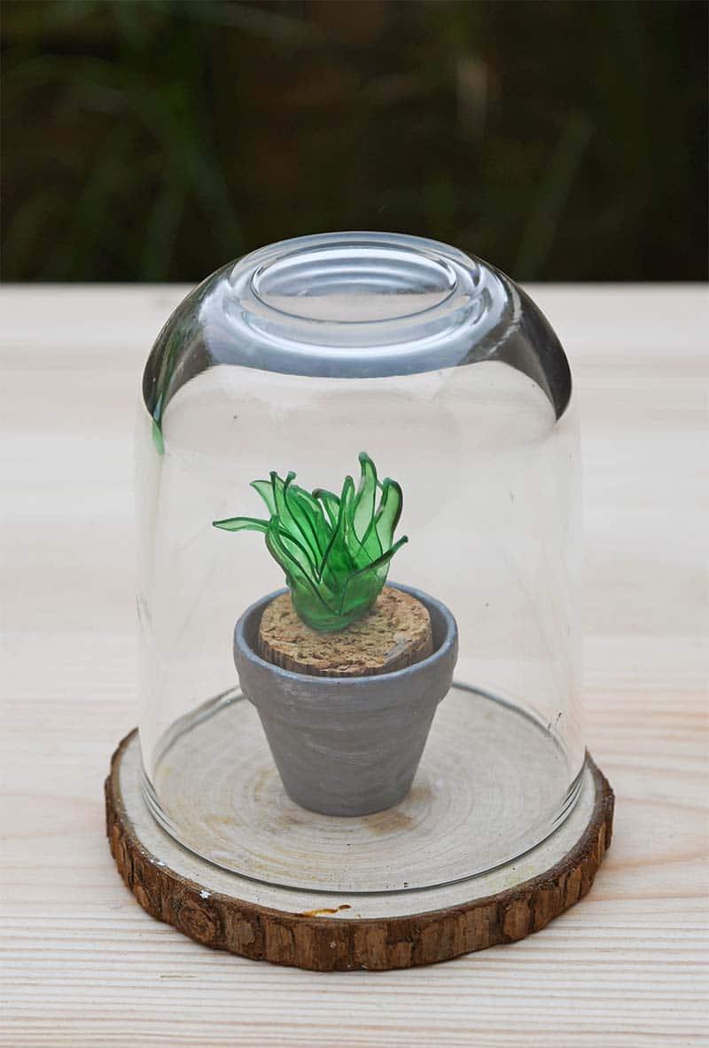 Mini faux succulent from a plastic bottle