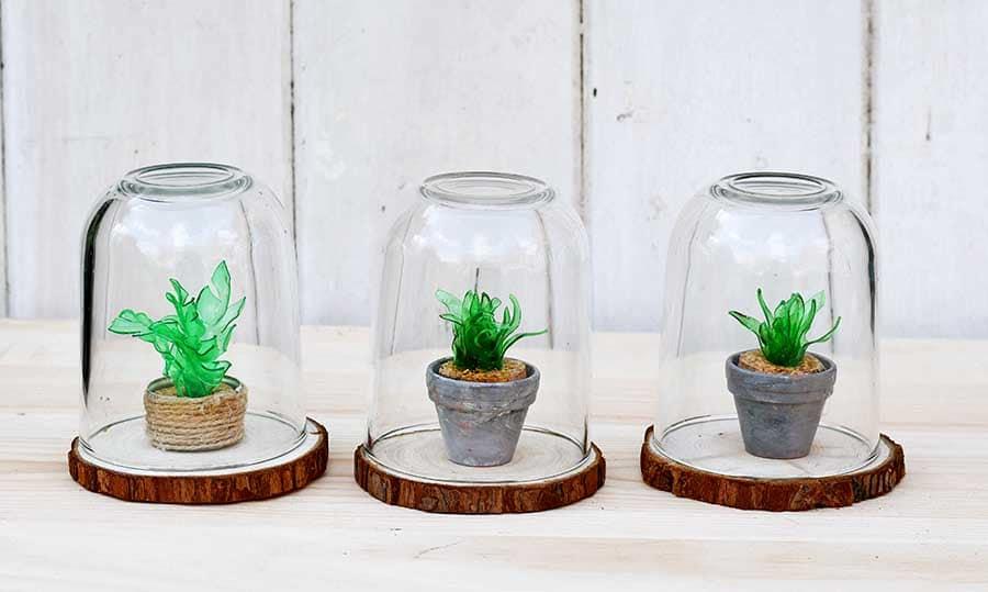 Mini faux succulent terrariums from plastic bottle