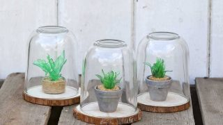 Upcycled mini faux succulents terrariums
