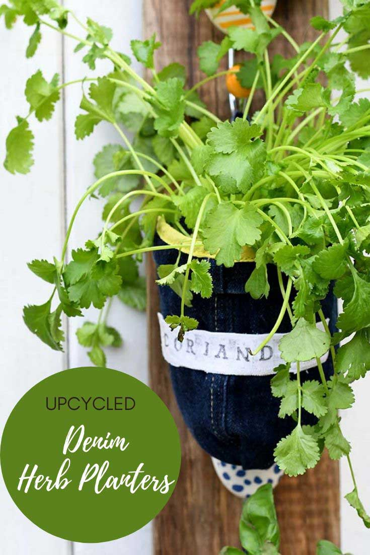 Denim upcycled indoor herb planters