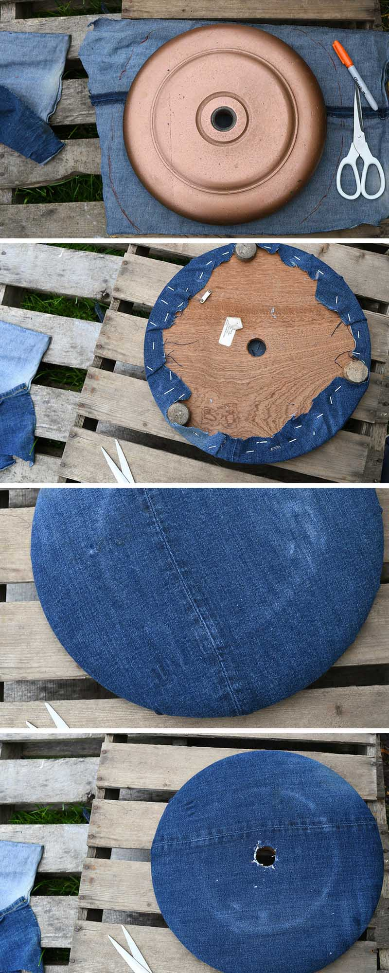 Covering the base of a floor lamp in denim