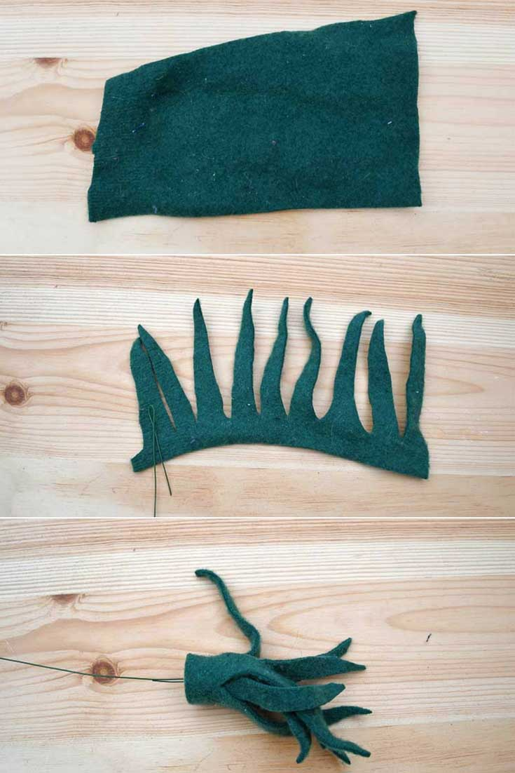 Floppy long leafed felt succulent tutorial