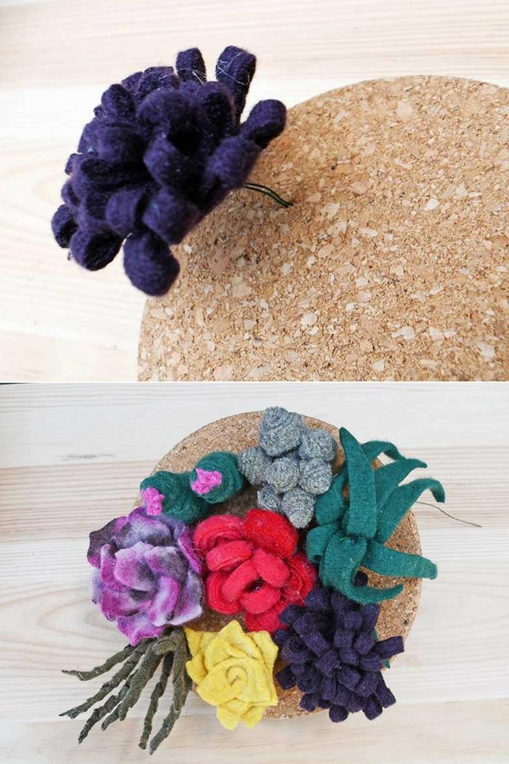 assembling felt succulent garden onto corkboard