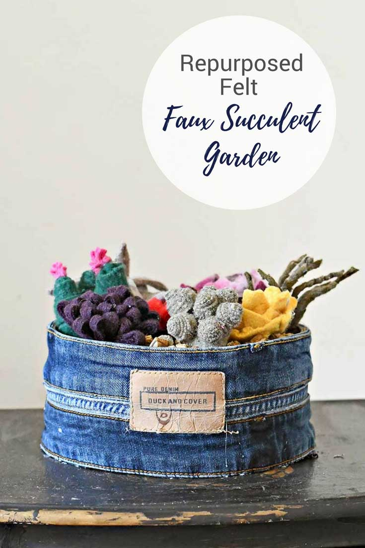 DIY felt faux succulents garden in upcycled stone tin