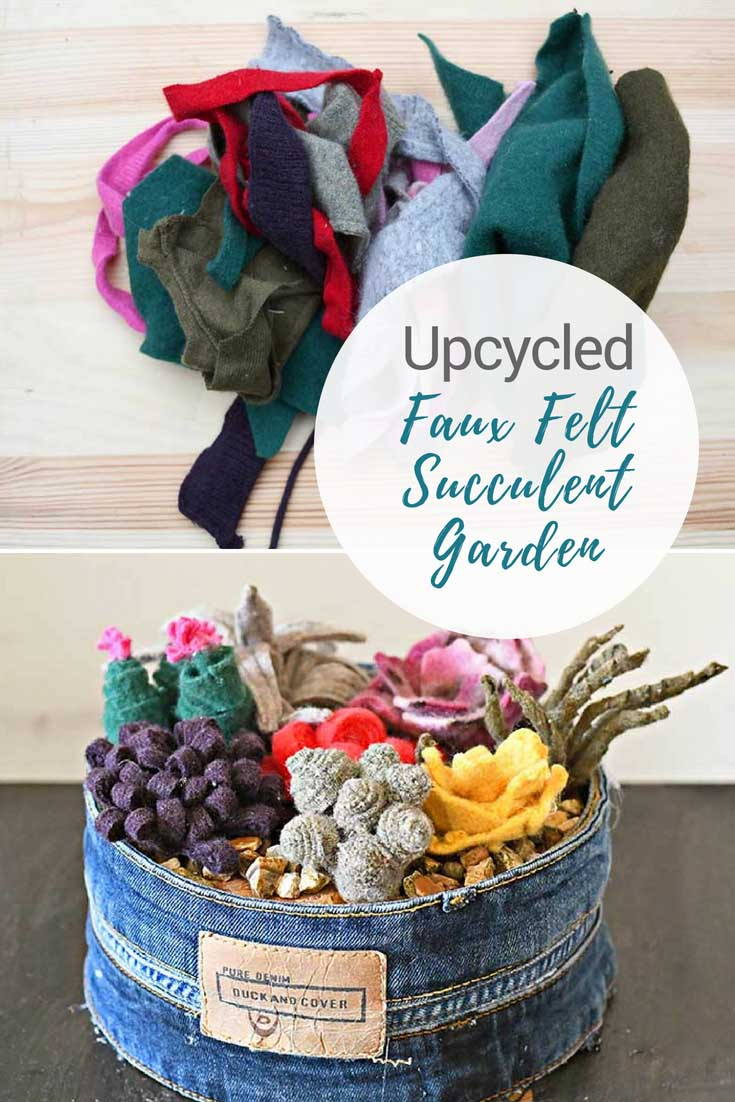 Repurposing sweater felt scraps into a faux succulent garden.