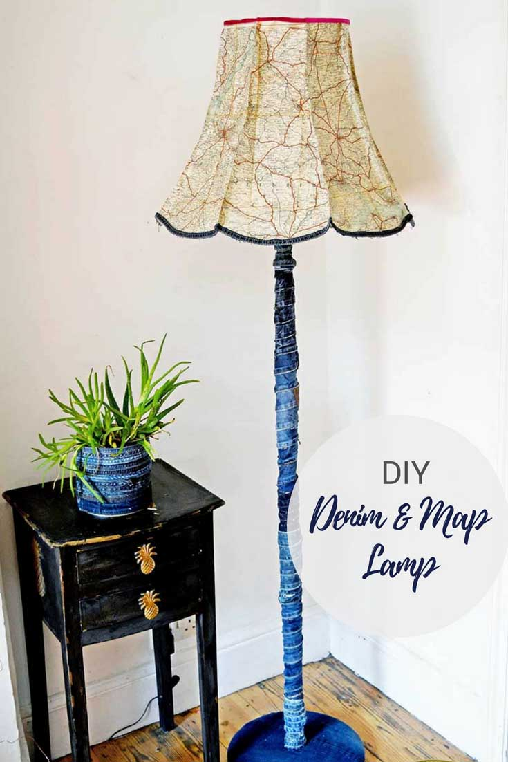 Vintage denim and road map floor lamp