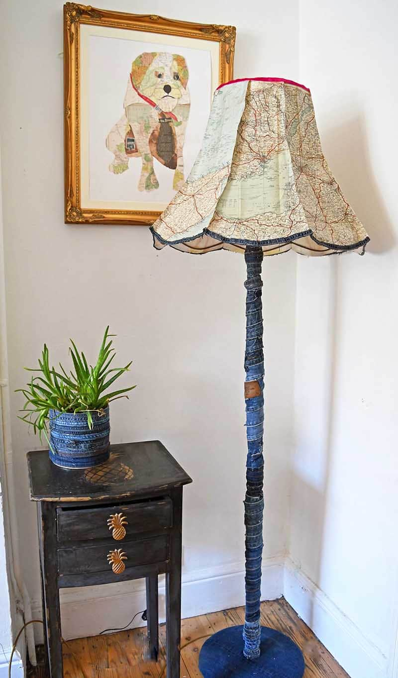 Upcycled denim floor lamp with map lampshade