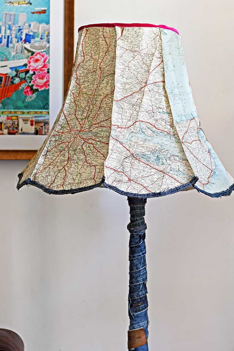 Upcycled vintage map lampshade