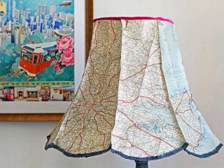 Upcycled denim lamp and vintage map lampshade