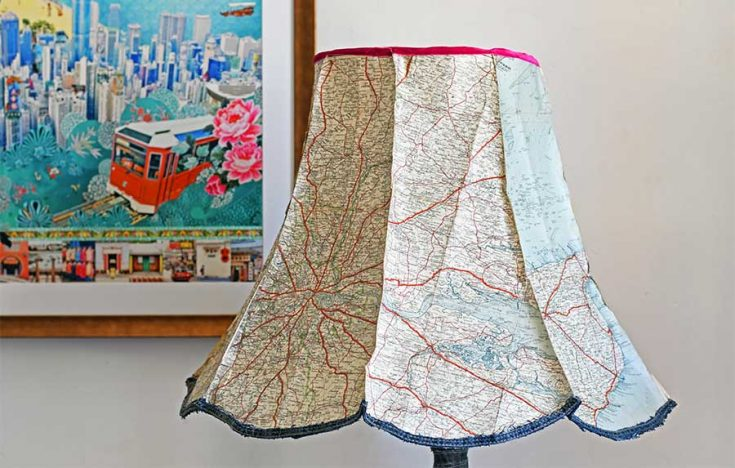 How To Make A Unique Denim And  Vintage Map Lampshade