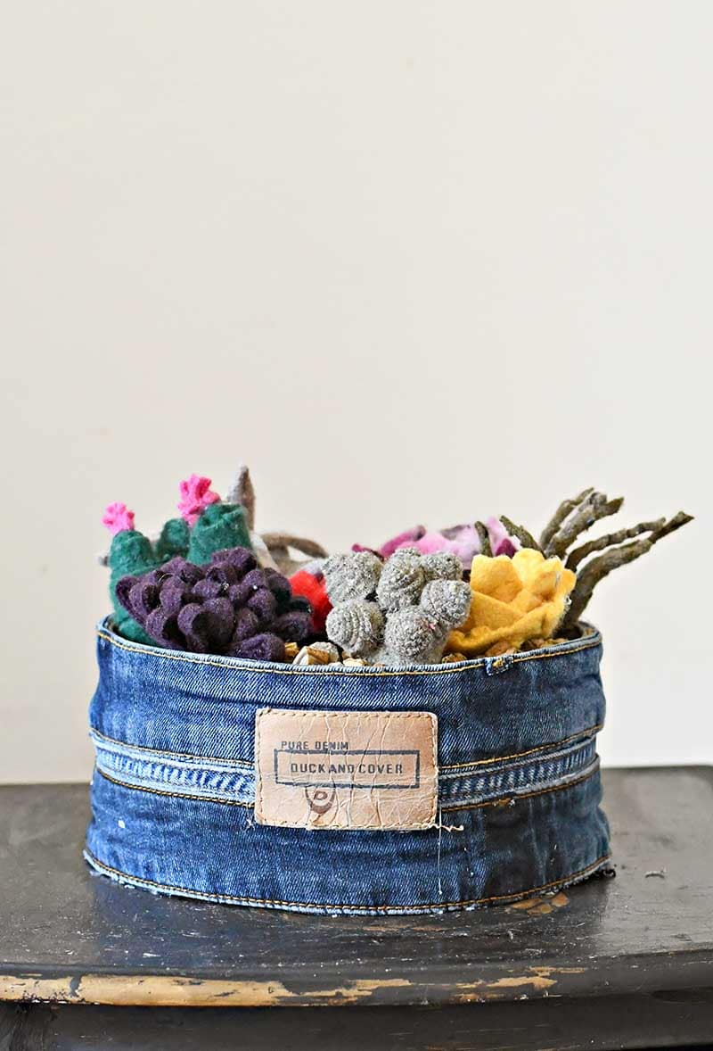 Upcycled sweater felt scraps into a faux succulent garden
