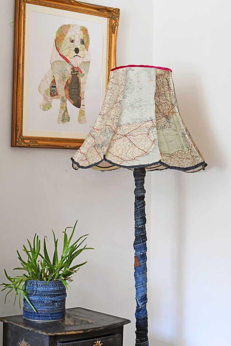 Upcycled Vintage denim and road map floor lamp