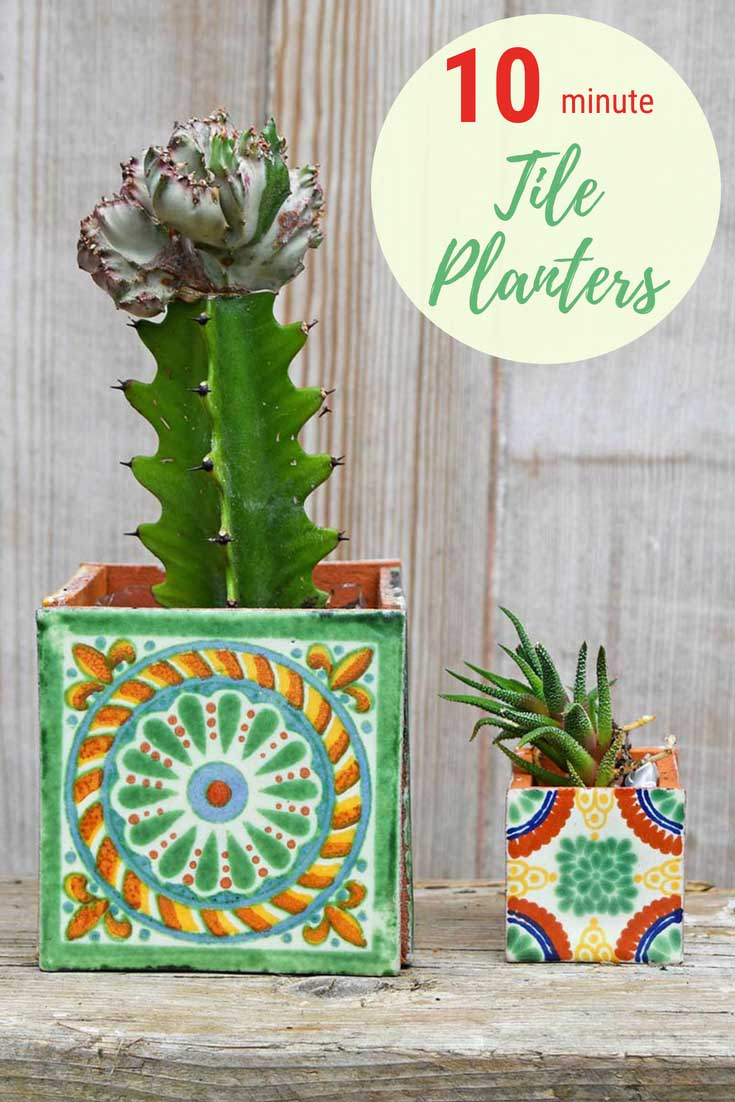 DIY boho square tiled Mexican Planter pin