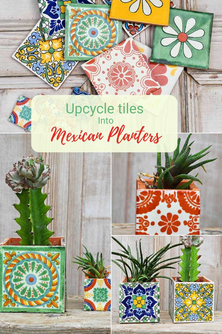 DIY boho square tiled Mexican Planter