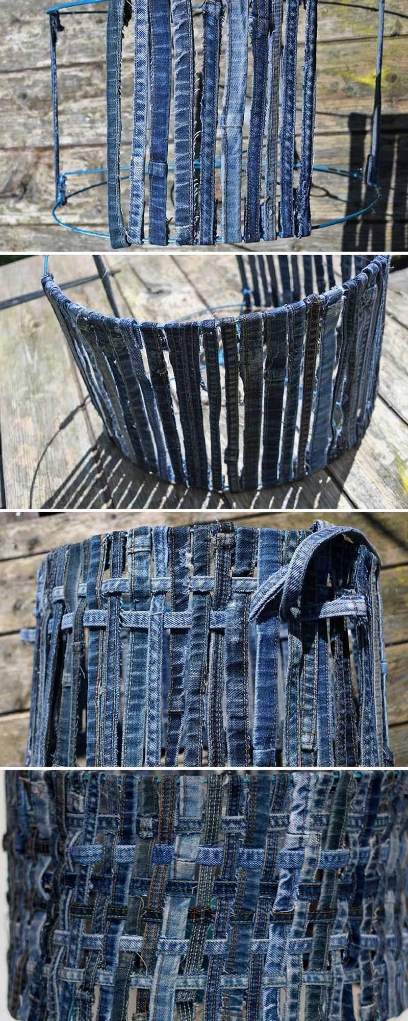 How to make a woven denim lampshade from the hems