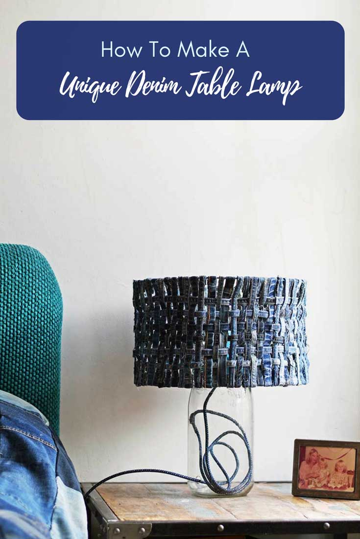 How To Make a Unique Table Lamp With A Denim Lampshade - Pillar Box Blue