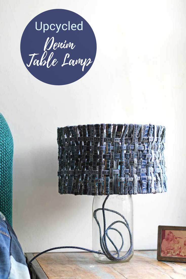 How to make a unique table lamp with denim lampshade