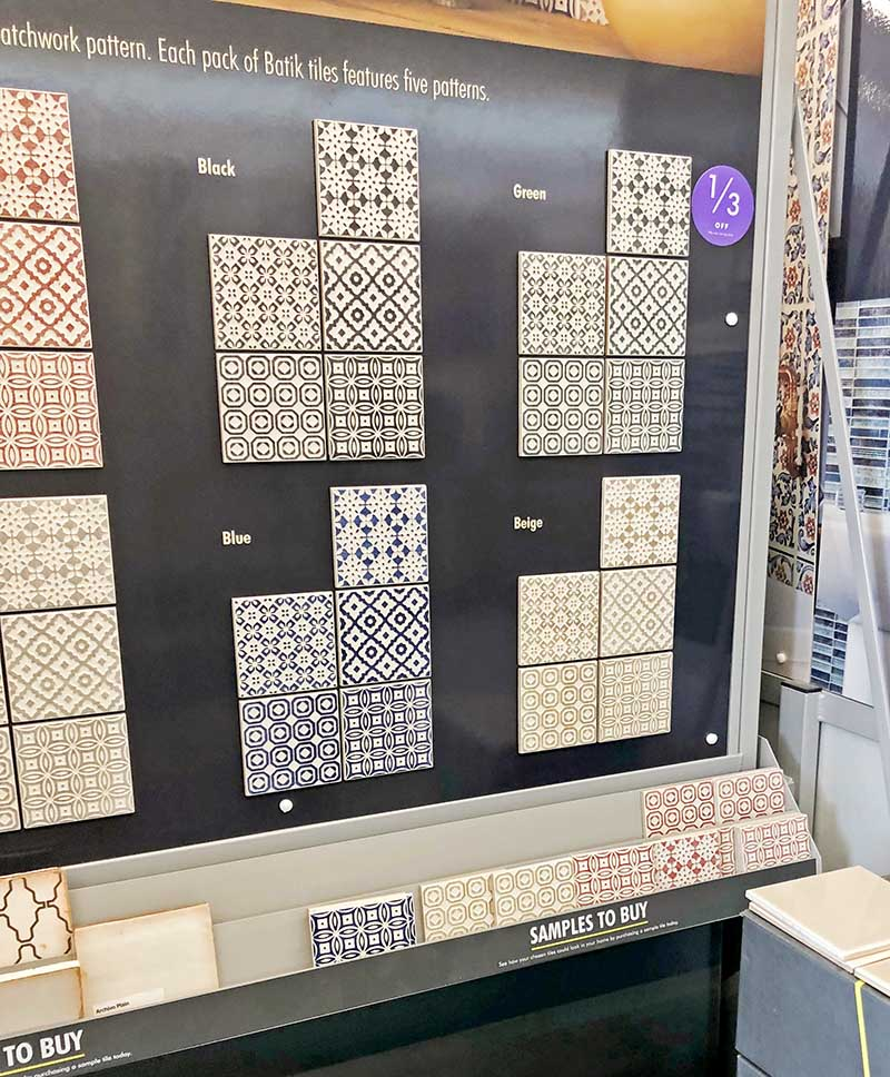Moroccan tile samples in shop
